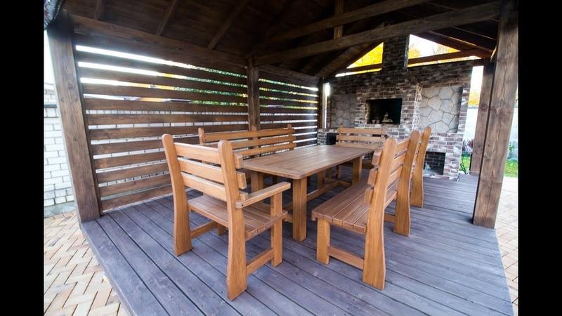 Садовая мебель из массива дуба в беседку