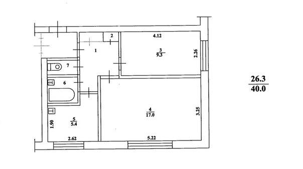 Двухкомнатная квартира 40 кв