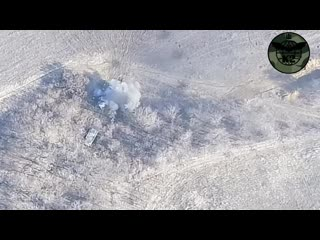 Группа К-2 из 54-й бригады ВСУ уничтожила автомобиль УРАЛ и двоих ополченцев.