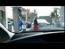 Blonde with Tesla on gas stations