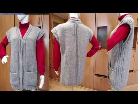 Тёплый уютный и очень простой жилет спицами и карманами и обвязкой крючком