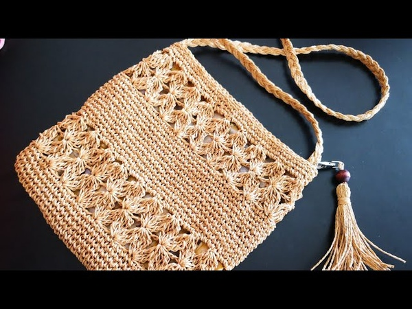 Kağıt İple Çiçek Şeritli Çanta Yapımı Jasmine Stitch Cross Bag