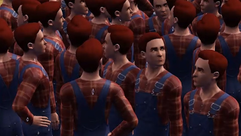 When youre bored in The Sims so you create 298 clones of the same character