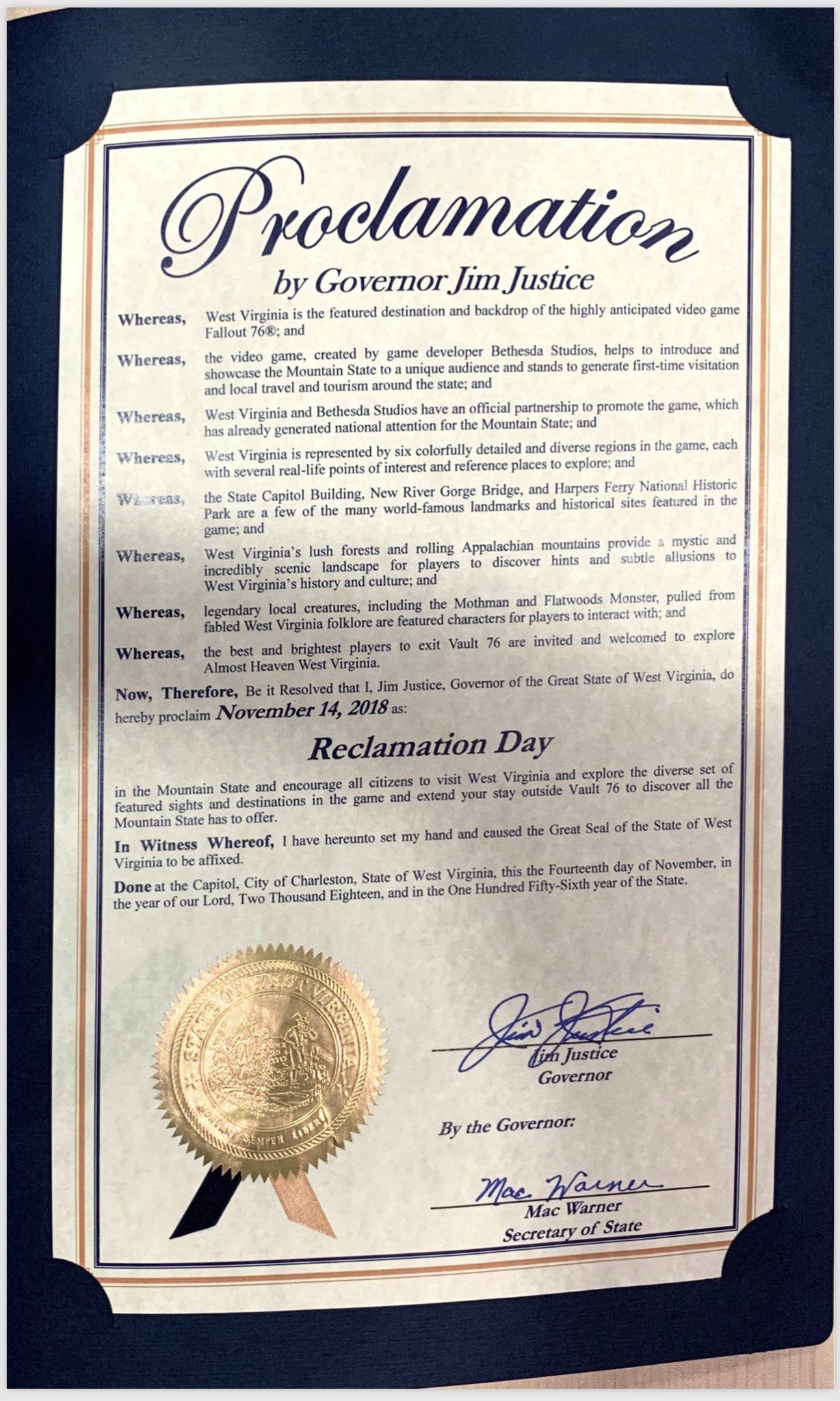 ЧАРЛСТОН, США - Праздник День возражения из игры Fallout-76 стал реальным.