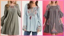 Latest stylish hand embroidered shirts kurties top designer dress collection