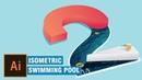Create isometric numeric swimming pool design illustrator tutorial
