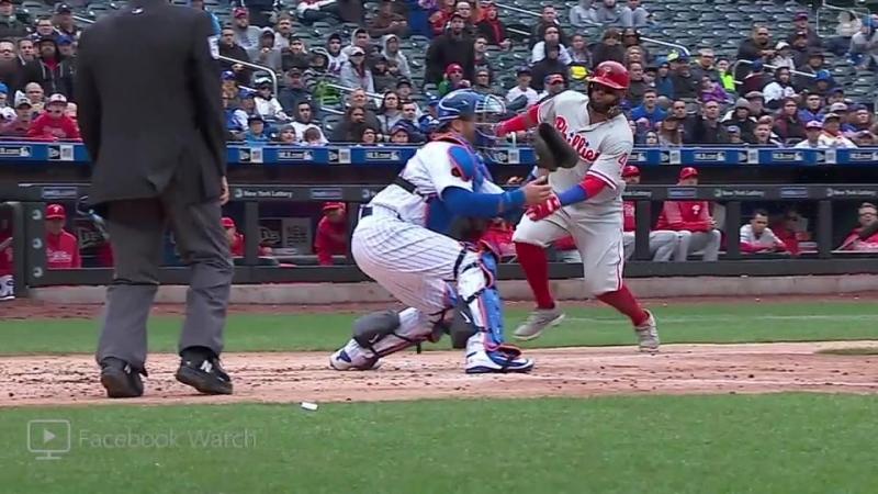 Santana swipes home plate © MLB.TV