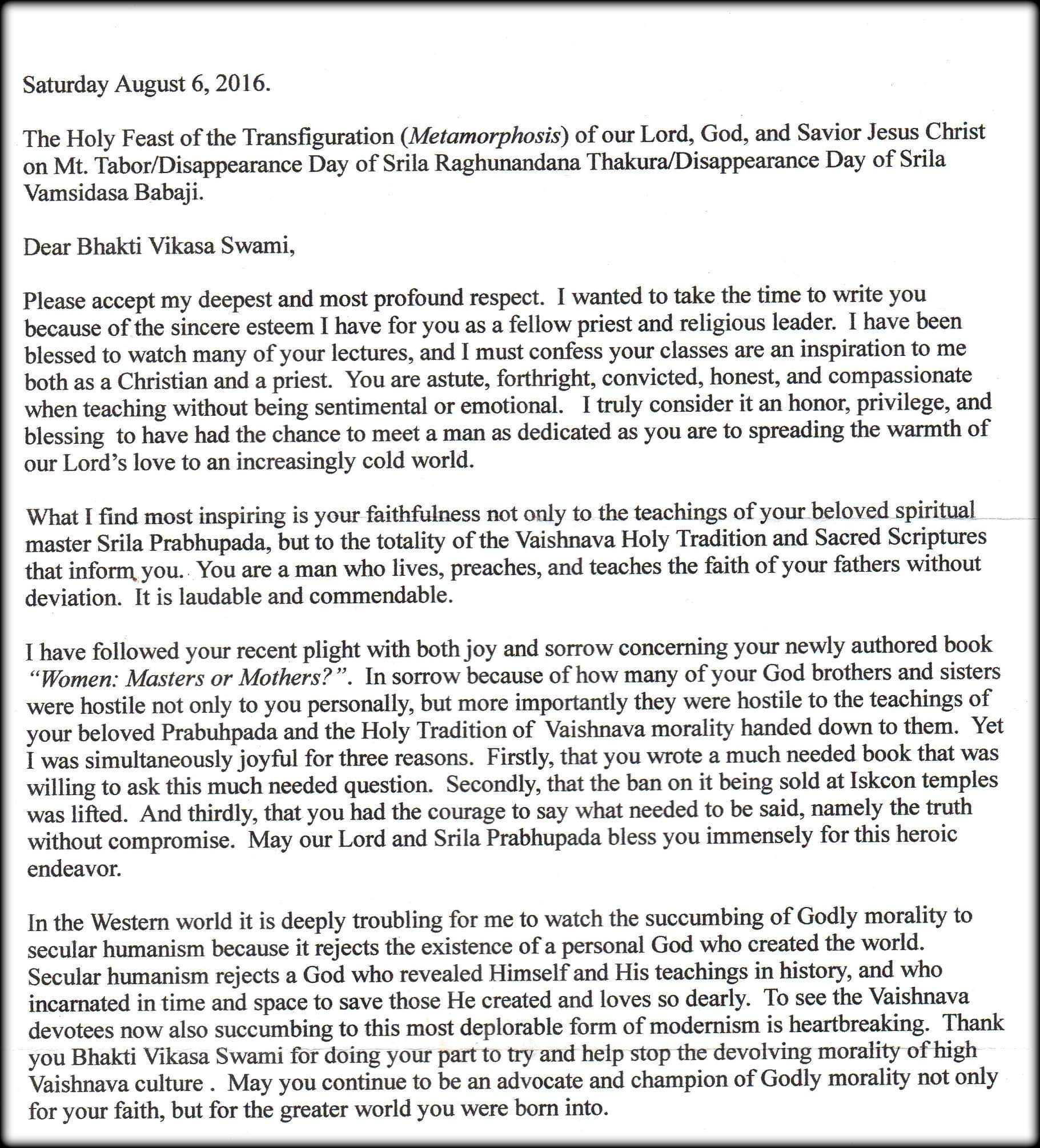 This is a letter sent by a Christian priest to HH.