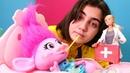 Barbie doktor troll Poppy'yi muayene ediyor