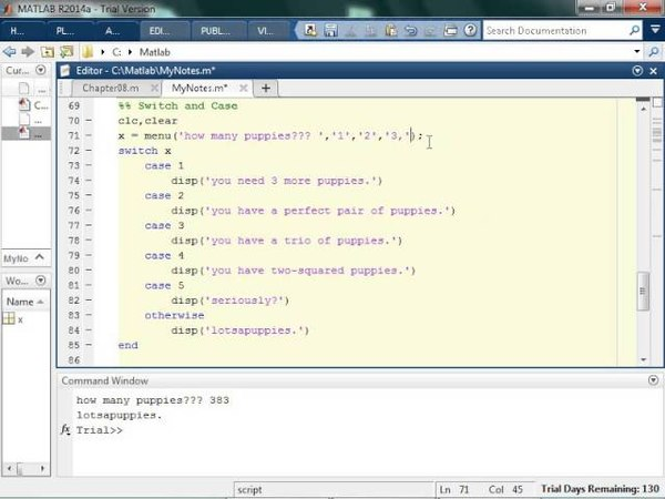 Creating Switch, Case, and Menu Matlab Statements