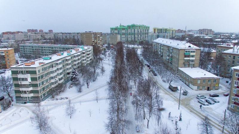 Бульвар Кузнецова Сергиев Посад зимой в январе с высоты