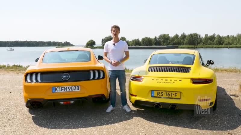 Ford Mustang GT vs. Porsche 911 Carrera T - AutoWeek Dubbeltest - English subtit