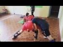 Круговая тренировка Рахинских донцов Медбол турник штанга прыжки на колесо спарринги