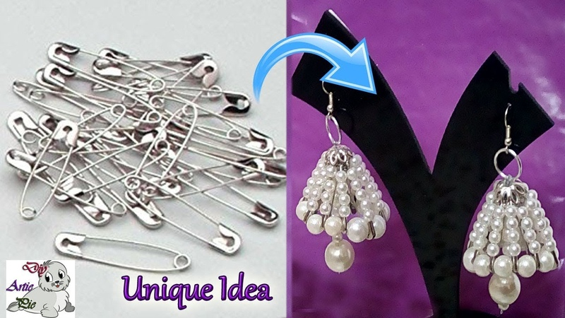 99 Unique Diy Idea with Safety Pin | Jhumkas making with Safety Pin -Innovative Idea-Jewelry Making