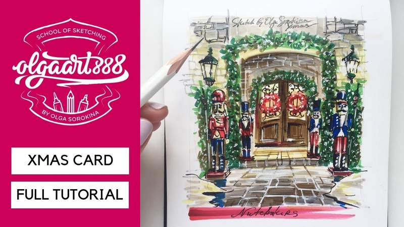 🎄XMAS CARD NUTCRACKER: how to draw it with markers. Full tutorial