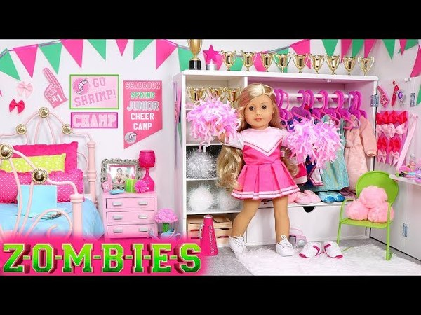 Baby Doll Bedroom for Disney ZOMBIES Addison! Play dress up wardrobe with cheerleader hairstyle