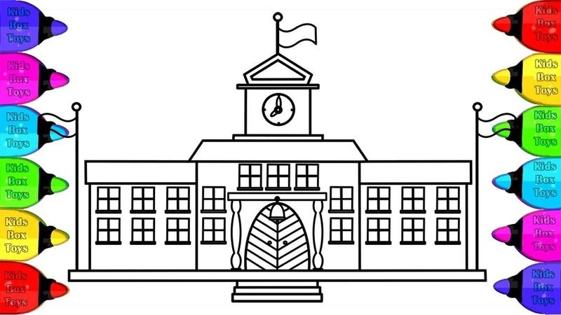 Vẽ tranh ngôi trường của em và tô màu cho bé | Dạy bé vẽ,Bé tô màu, My school Drawing and Coloring 2