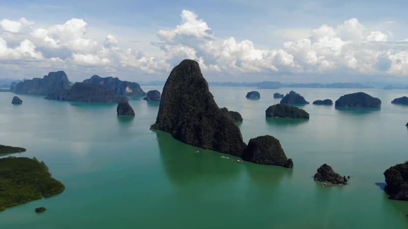 Samet Nangshe Viewpoint drone shots Phang Nga Thailand December 2018