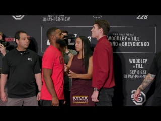 UFC 228_ Tyron Woodley vs. Darren Till Media Day Staredown - MMA Fighting