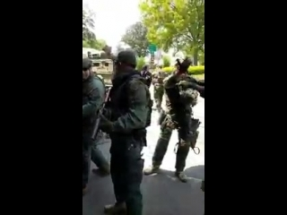 Now that Im on wi-fi, heres the full video of militarized police attacking unarmed anti-Na