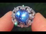 GIA Certified UNHEATED VVS Natural Blue Sapphire Diamond PLATINUM Engagement Ring - C374