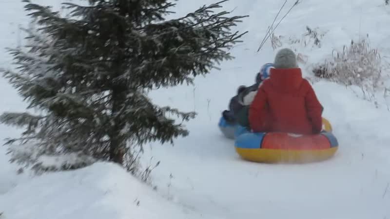 Паравозики 24 12 2018 Снежная горка в Перемилово