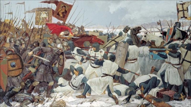 Сегодня День победы русских воинов князя Александра Невского над немецкими рыцарями на Чудском озере (Ледовое побоище, 1242 год)