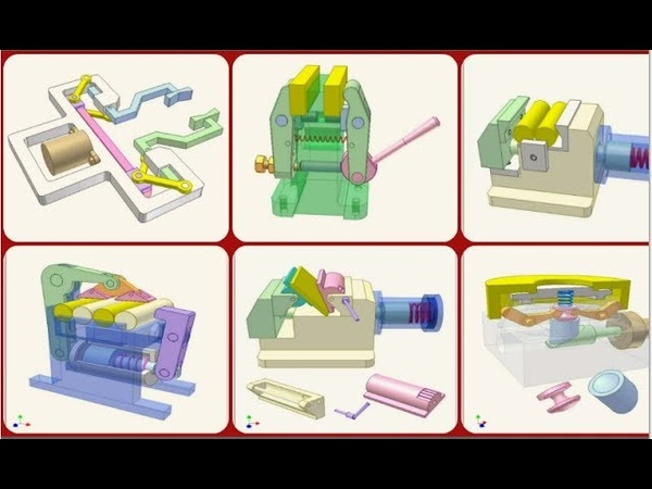 Зажимные механизмы - Механизированные зажимное приспособление - анимации
