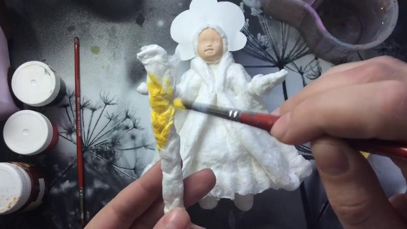 Ватная игрушка Снегурочка. ЧАСТЬ 3