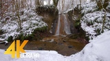 4K Winter Waterfall - 1 Hour Winter Relaxation Video with Natural Sounds of Water