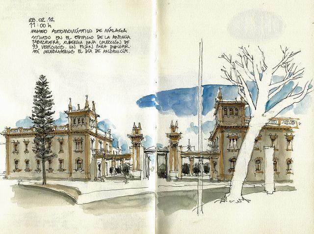 Архитектурные эскизы, графические работы, акварель.