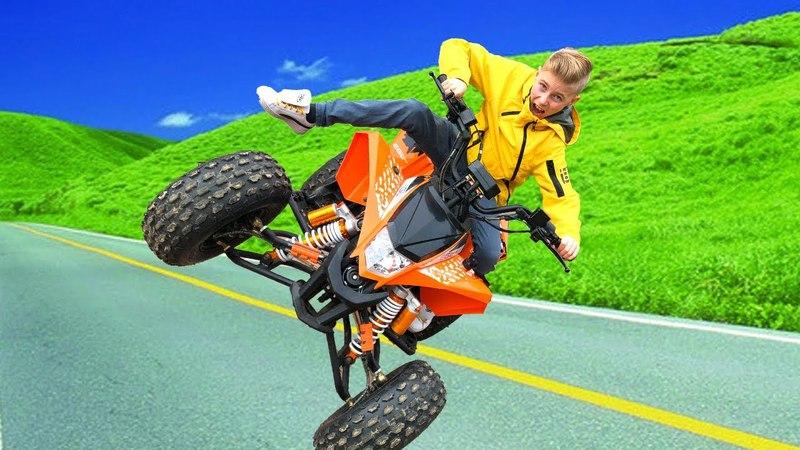 Чуть не разбился...НЕ квадрик а ЗВЕРЬNew SUPER Car Ride On POWER WHEEL and Review Toys Video