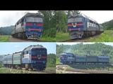 Красивые синие тепловозы ТЭП70 с пригородными поездами!