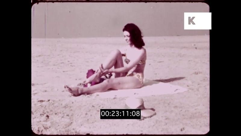 1960s Woman on Beach, Putting on Sunscreen