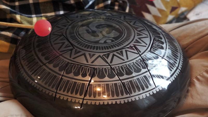 Ionian Handmade steel tongue drum with Aum mandala