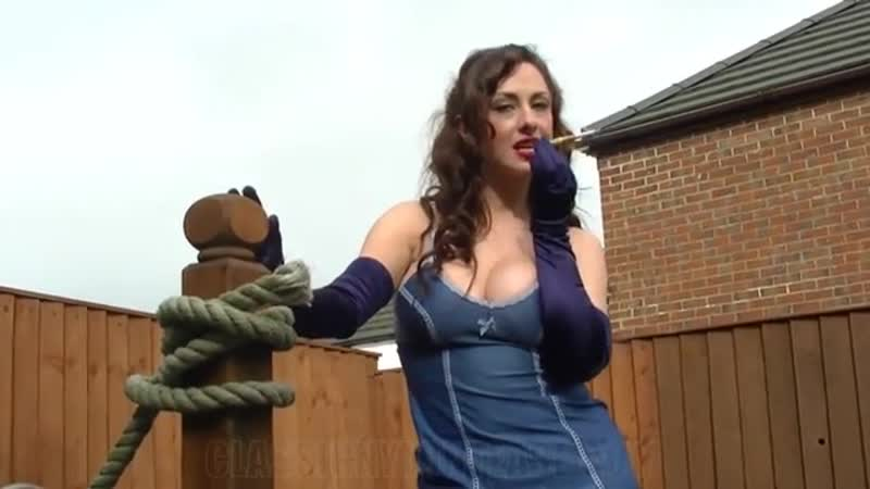 Beautifully Lady Smoking in lingerie and gloves
