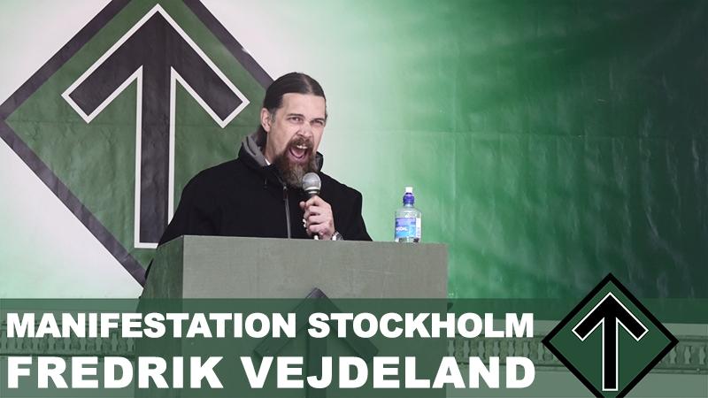 Manifestation Stockholm 2018 Fredrik Vejdeland talar