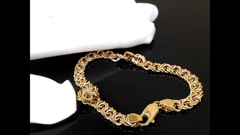 Мужской браслет плетения Арабский Бисмарк из красного золота