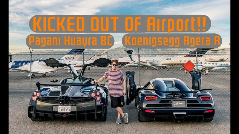 Getting KICKED OUT of an Airport in a Koenigsegg Agera R and Huayra BC!!