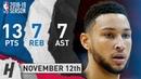 Ben Simmons Full Highlights 76ers vs Heat 2018.11.12 - 13 Pts, 7 Ast, 7 Rebounds!