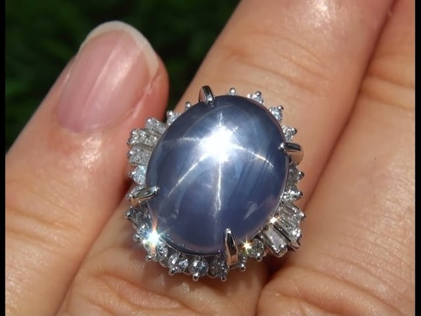 Estate 14.10 ct Blue Star Sapphire Diamond Vintage PLATINUM Ring - A131523