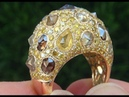 GIA Certified Natural Fancy Color Diamond Cocktail 18k Yellow Gold Estate Ring C440