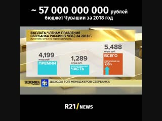 9 человек в Сбербанке получают 5,5 млрд. рублей в год