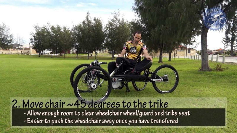 Paraplegic Transfering from Wheelchair to Explorer II Off-road Handcycle Trike (Australia)
