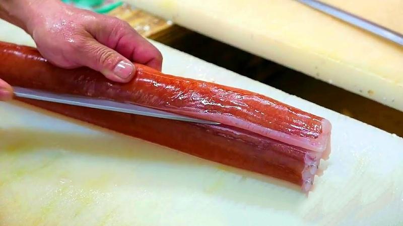 Япония Морепродукты - Красный Корнет Рыба (Флейта) Сашими Япония Окинава