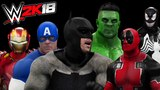 WWE 2K18 - HULK VS BATMAN VS IRONMAN VS VENOM VS DEADPOOL VS CAPTAIN AMERICA