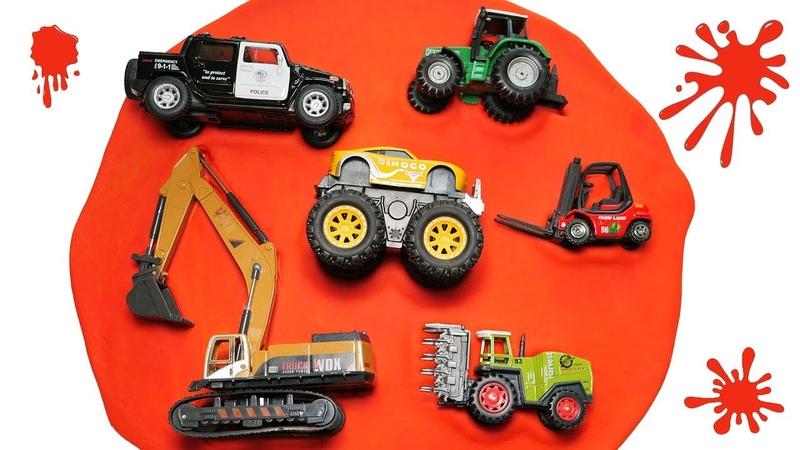 Vehicles Names Learning for Kids - Monster Truck, Loader , Combine, Police car, Tractor, Forklift