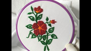 Hand Embroidery - Nice Flower with Romanian Stitch (Cushion Cover Embroidery design)