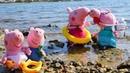 Papá Pig bucea. Juguetes en la playa. Vídeos para niñas.