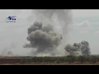 Syria heavy airstrikes and artillery bombardment on area of Lataminah this morning N. Hama